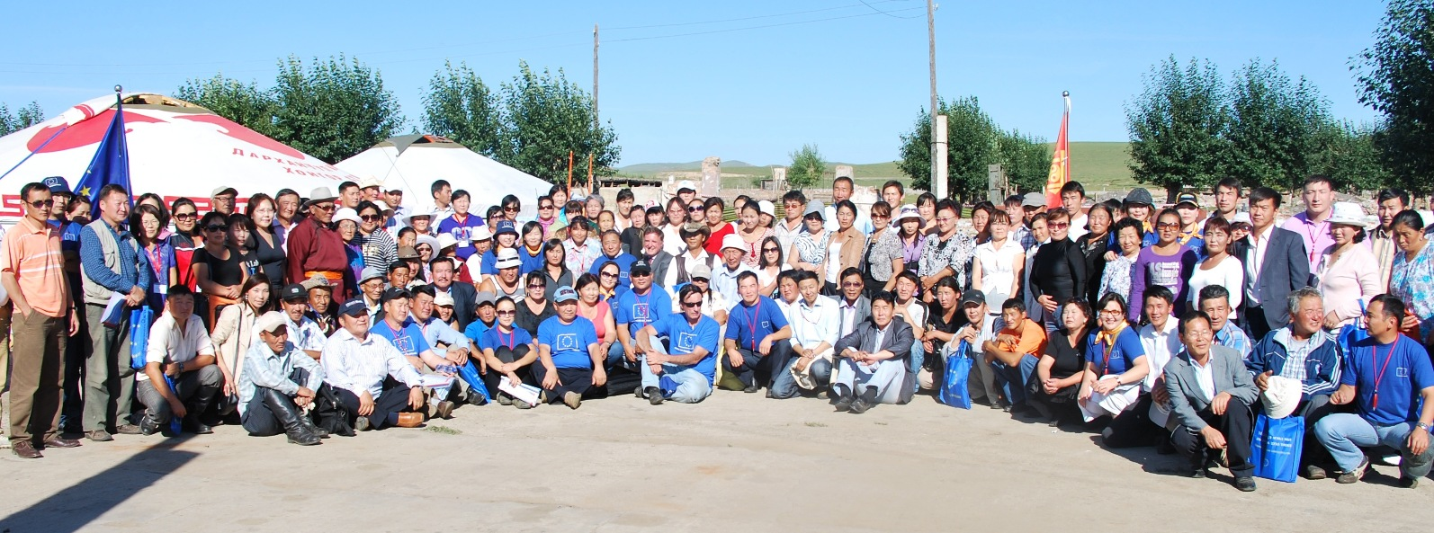 Project team and visitors of the field trials in Mongolia